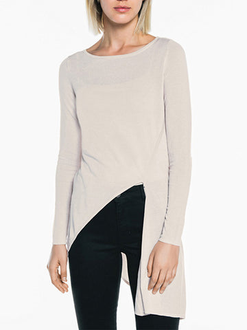 Casual Asymmetric Hem Vented Plain Long Sleeve T-Shirt