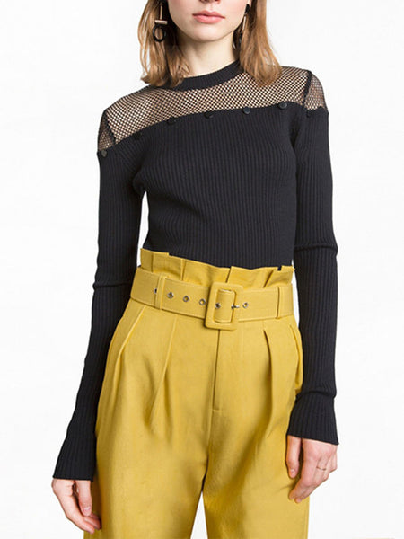 Crew Neck Patchwork See-Through Plain Sweater - Bychicstyle.com
