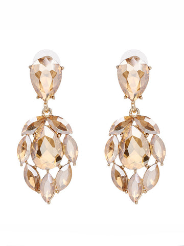 Casual Drop Champagne Crystal Earring