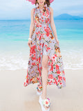 ByChicStyle Halter Backless High Slit Floral Printed Maxi Dress - Bychicstyle.com