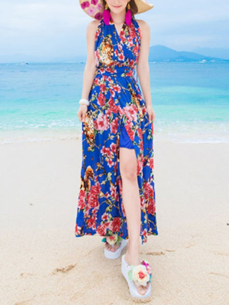 Halter Backless High Slit Floral Printed Maxi Dress - Bychicstyle.com