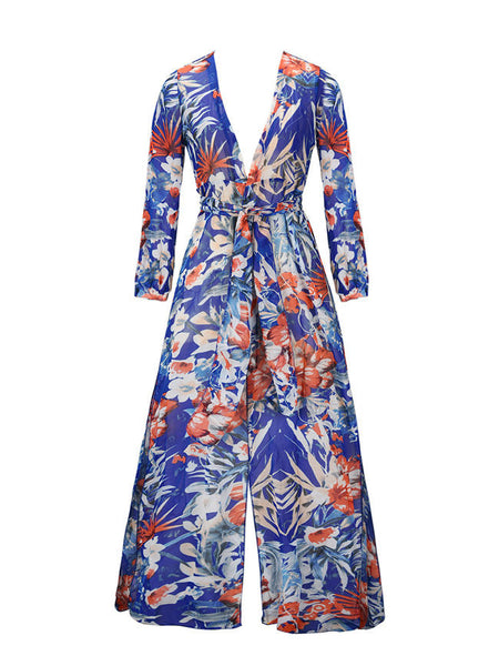 Sexy High Slit Printed Deep V-Neck Maxi Dress - Bychicstyle.com