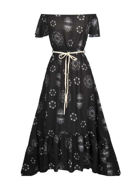 Off Shoulder High-Low Ruffled Hem Printed Chiffon Maxi Dress - Bychicstyle.com