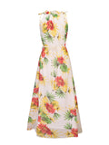ByChicStyle Casual Band Collar Floral Printed Chiffon Swing Maxi Dress