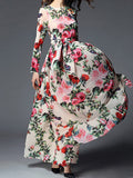 ByChicStyle Captivating Swing Floral Printed Round Neck Maxi Dress - Bychicstyle.com
