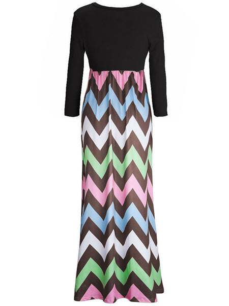 Color Block Zigzag Striped Empire Round Neck Maxi Dress - Bychicstyle.com