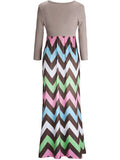 ByChicStyle Color Block Zigzag Striped Empire Round Neck Maxi Dress - Bychicstyle.com