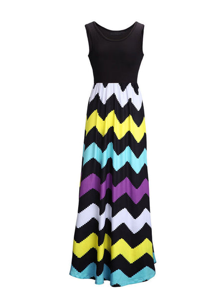 Color Block Zigzag Striped Empire Swing Maxi Dress - Bychicstyle.com