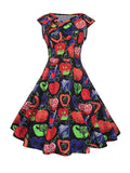 ByChicStyle Dramatic V-Neck Printed Skater Dress - Bychicstyle.com
