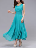 ByChicStyle Flowing Charming V-Neck Plain Maxi Dress - Bychicstyle.com