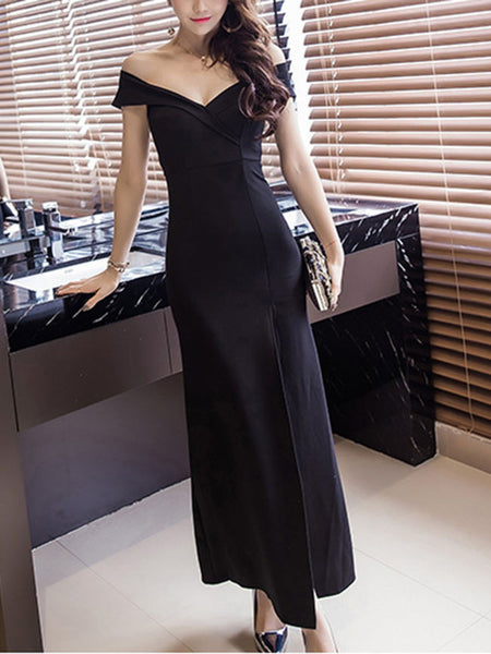 Sexy Off Shoulder High Slit Solid Maxi Dress In Black - Bychicstyle.com