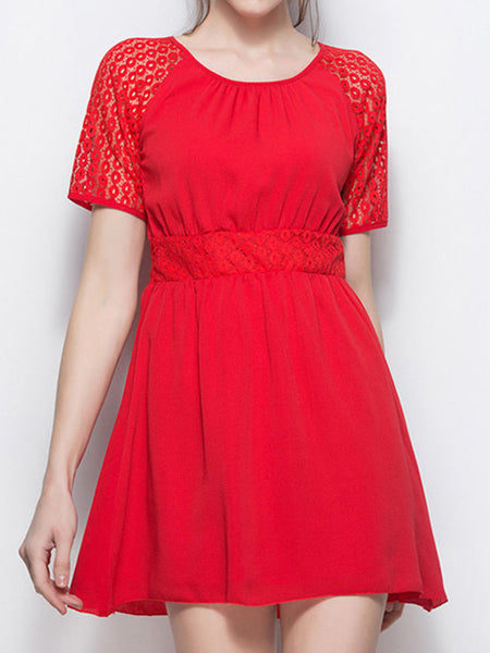 Patchwork Hollow Out Round Neck Plain Chiffon Skater Dress - Bychicstyle.com