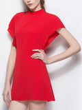Streetstyle  Casual Band Collar Bowknot Plain Chiffon Skater Dress