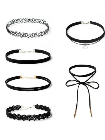 Six Pieces Lace Choker Necklaces Set - Bychicstyle.com