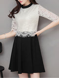 ByChicStyle Crew Neck Color Block Decorative Lace Half Sleeve Skater Dress - Bychicstyle.com