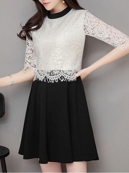 Crew Neck Color Block Decorative Lace Half Sleeve Skater Dress - Bychicstyle.com