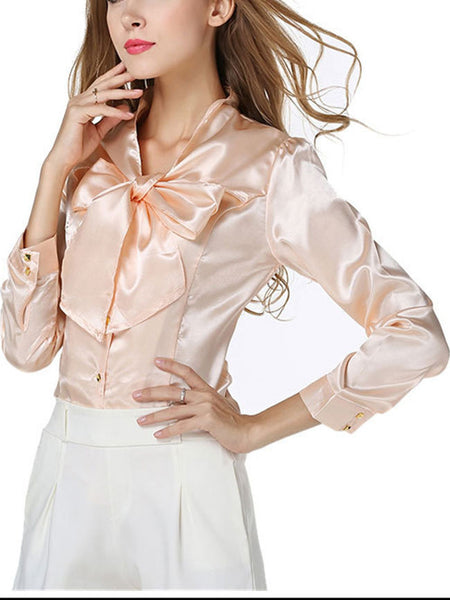 Tie Collar Bowknot Plain Blouse - Bychicstyle.com