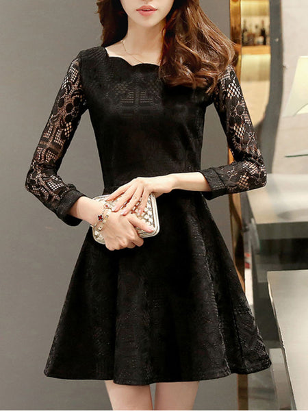 Scallop Hollow Out Plain Lace Skater Dress - Bychicstyle.com