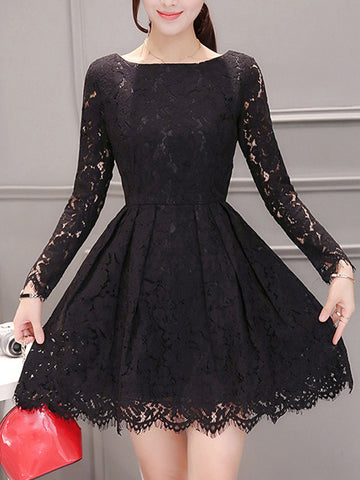 Boat Neck Hollow Out Solid Lace Skater Dress - Bychicstyle.com