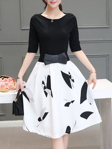 Boat Neck Half Sleeve T-Shirt And Flared Printed Skirt - Bychicstyle.com