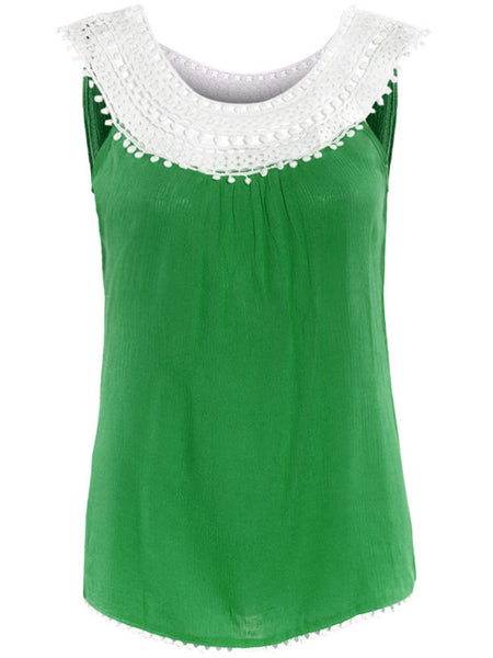 Decorative Lace Color Block Sleeveless T-Shirt - Bychicstyle.com