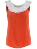 ByChicStyle Decorative Lace Color Block Sleeveless T-Shirt - Bychicstyle.com