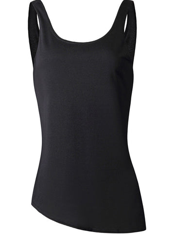 Casual Asymmetric Hem Backless Plain Sleeveless T-Shirt