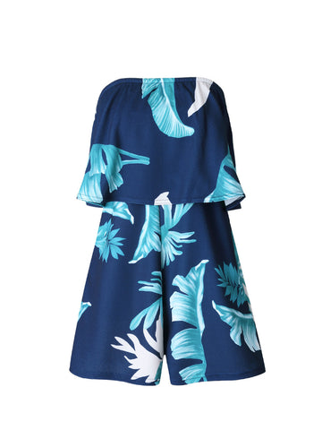 Casual Attractive Strapless Flounce Leaf Printed Romper