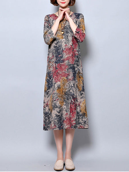 Round Neck Pocket Printed Loose Maxi Dress - Bychicstyle.com