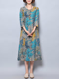 ByChicStyle Round Neck Pocket Printed Loose Maxi Dress - Bychicstyle.com