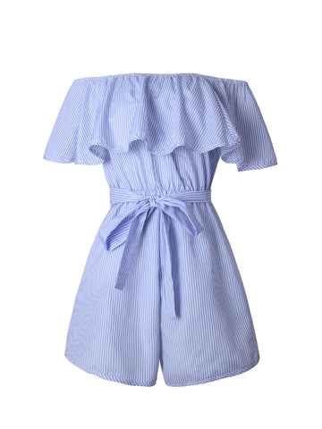 Off Shoulder Bowknot Flounce Pinstripe Romper - Bychicstyle.com