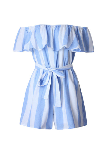 Off Shoulder Flounce Vertical Striped Romper - Bychicstyle.com
