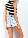ByChicStyle Casual Band Collar Zips Striped Cropped Sleeveless T-Shirt