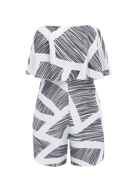 Black White Strapless Flounce Printed Straight Romper - Bychicstyle.com