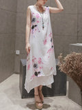 ByChicStyle Casual Double Layer Asymmetric Hem Printed Loose Maxi Dress