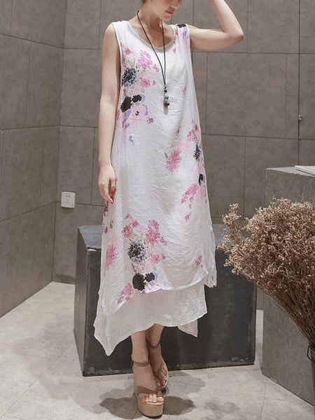 Casual Double Layer Asymmetric Hem Printed Loose Maxi Dress