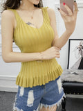 ByChicStyle Deep V-Neck Ruffled Hem Plain Sleeveless T-Shirt - Bychicstyle.com