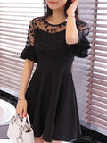 ByChicStyle Casual Round Neck Decorative Lace Flounce Tiered Plain Skater Dress