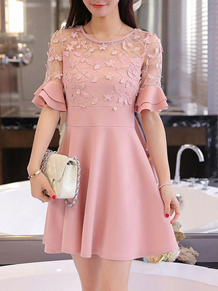 Casual Round Neck Decorative Lace Flounce Tiered Plain Skater Dress