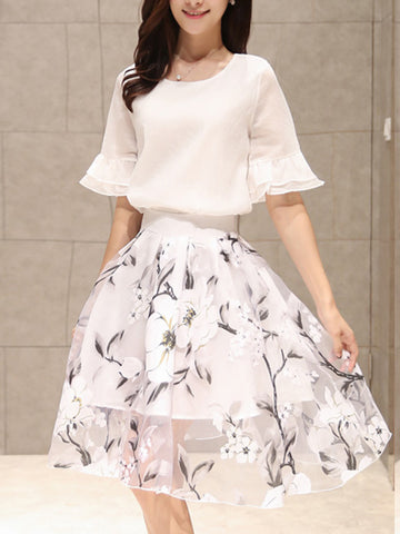 Casual Round Neck Bell Sleeve Top And Hollow Out Floral Flared Skirt