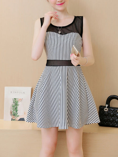Patchwork See-Through Striped Skater Dress - Bychicstyle.com