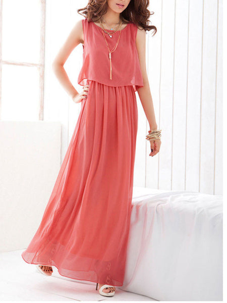 Solid Elastic Waist Chiffon Round Neck Maxi Dress - Bychicstyle.com