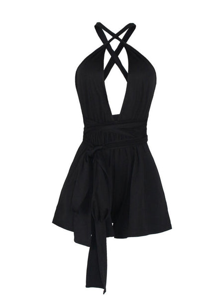 Long Strap Multi Way Plain Romper - Bychicstyle.com