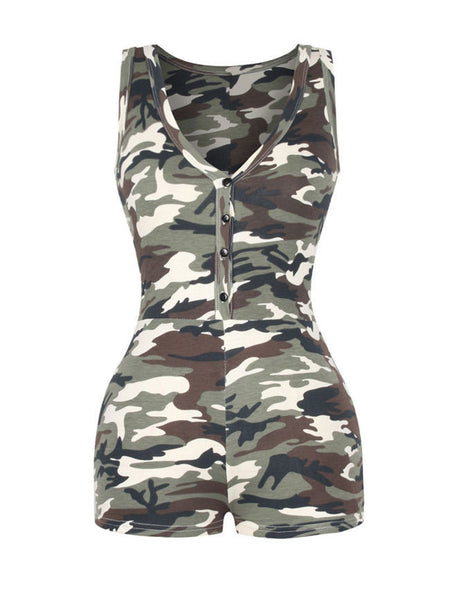 Deep V-Neck Single Breasted Camouflage Romper - Bychicstyle.com