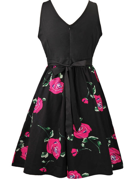 Casual Round Neck Bowknot Skater Dress In Floral Printed