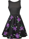 ByChicStyle Casual Round Neck Bowknot Skater Dress In Floral Printed