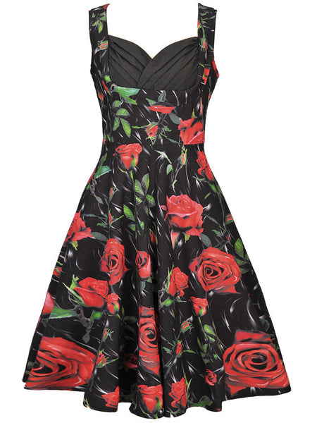 Sweet Heart Pleated Bodice Skater Dress In Floral Printed - Bychicstyle.com