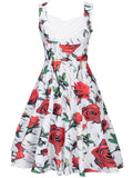 ByChicStyle Sweet Heart Pleated Bodice Skater Dress In Floral Printed - Bychicstyle.com