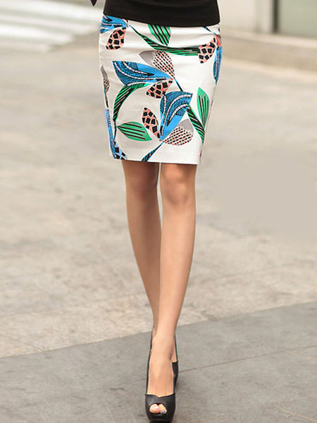 Printed Pencil Midi Skirt - Bychicstyle.com