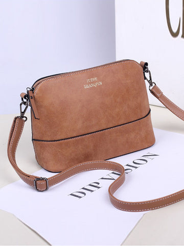 Casual Basic Plain Pu Shell Bag